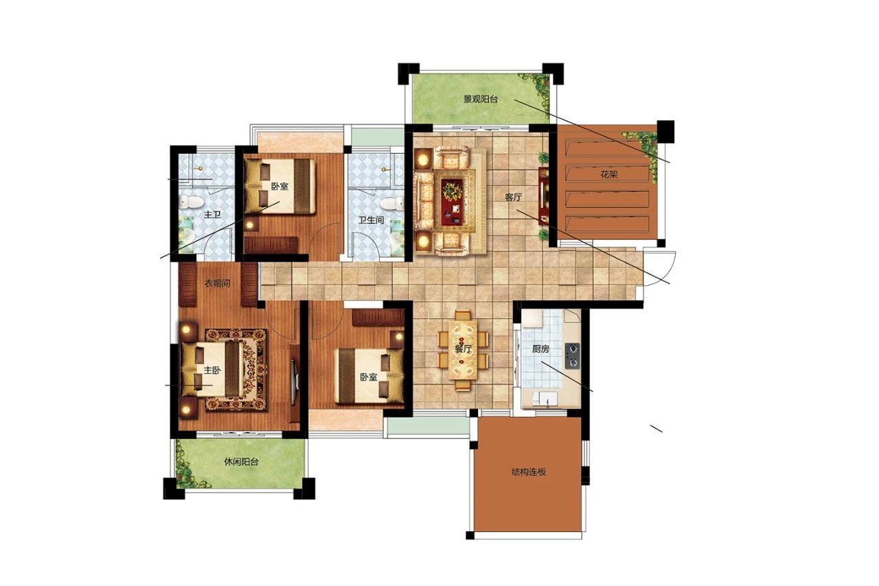 二期G户型 3室2厅2卫1厨 建筑面积:118.00㎡