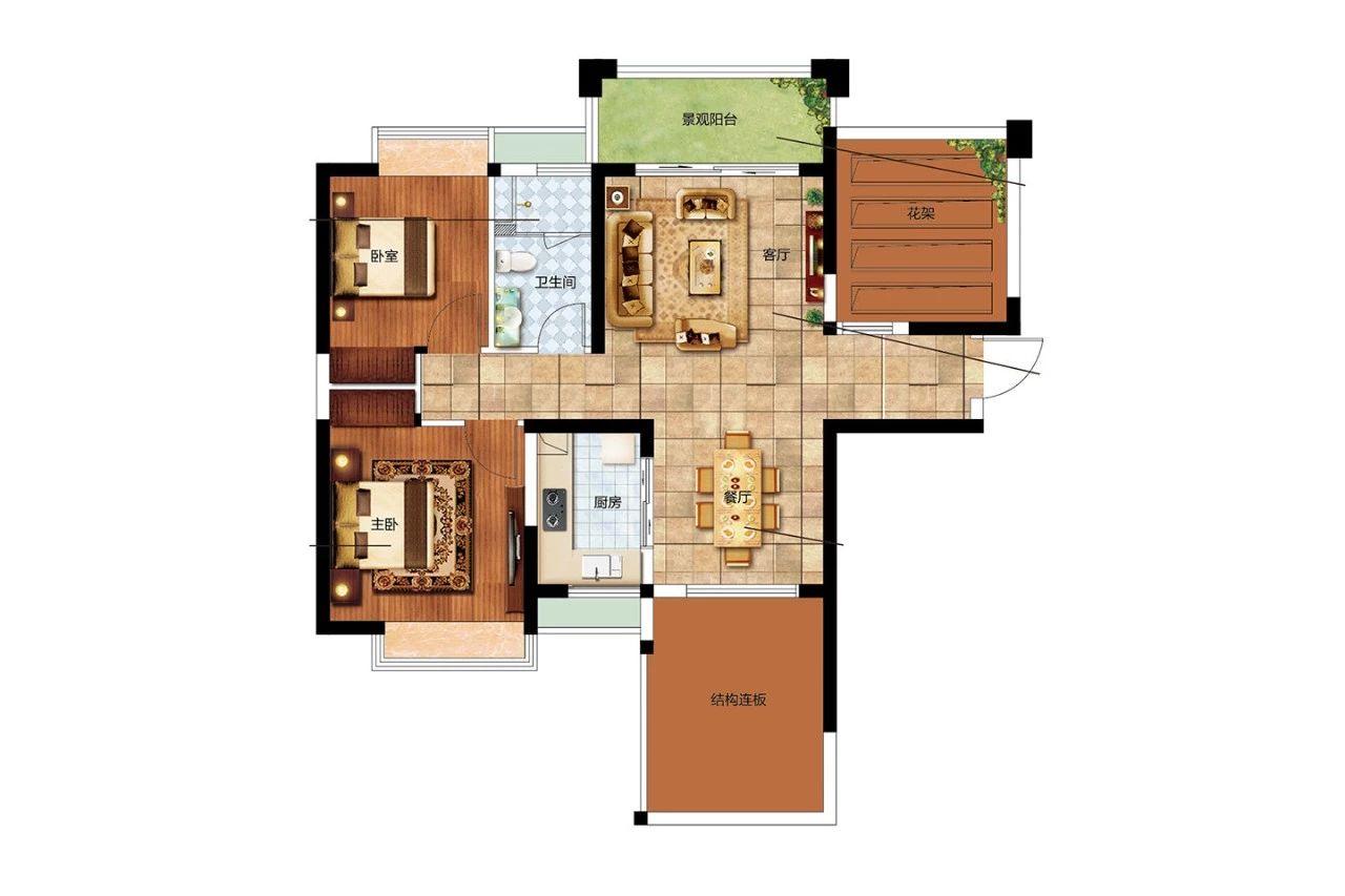 二期E户型 2室2厅1卫1厨 建面85㎡