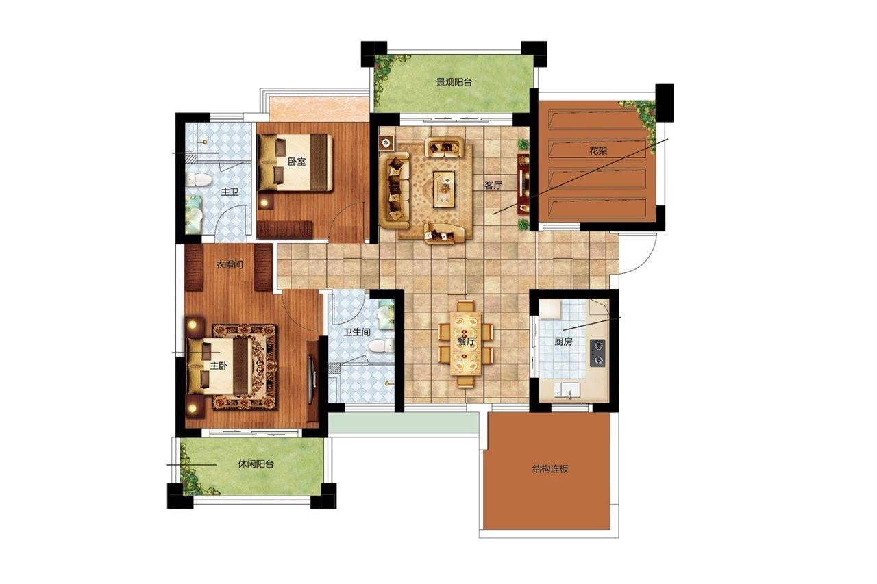 二期F户型 2室2厅2卫1厨 建面95㎡