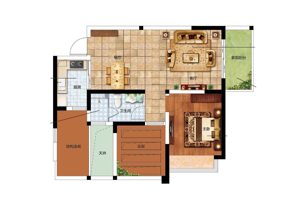 二期B户型 1室2厅1卫1厨 建筑面积:63.00㎡