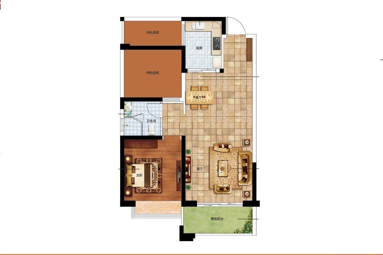 二期D户型 1室2厅1卫1厨 建面70㎡