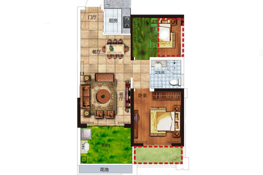 B户型 1室2厅1卫1厨 建筑面积:61.00㎡