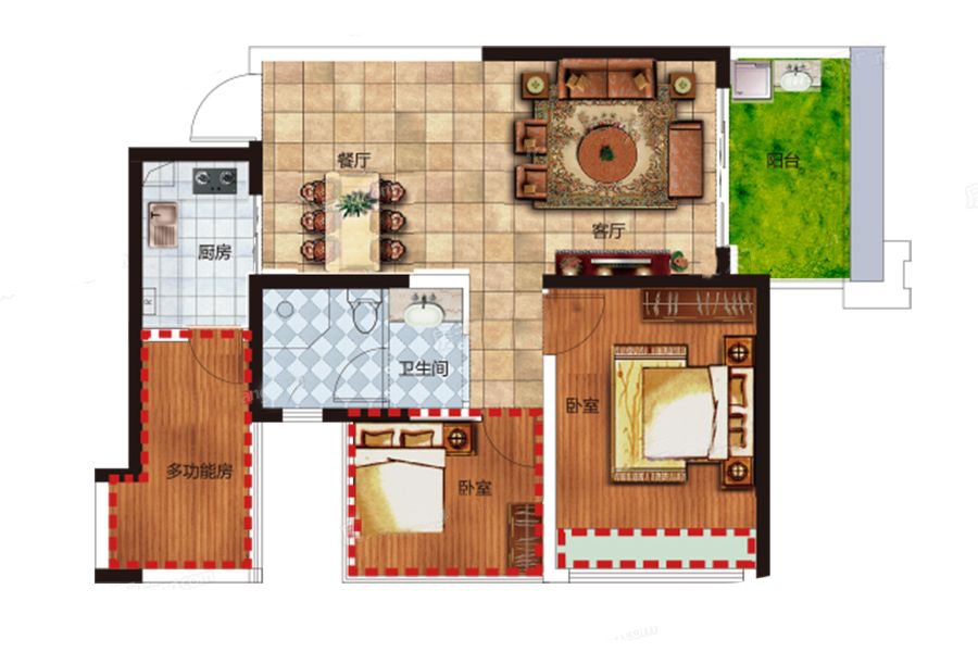 C户型 1室2厅1卫1厨 建筑面积:63.00㎡