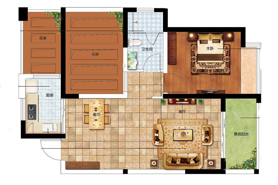 二期A户型 1室2厅1卫1厨 建筑面积:63.00㎡