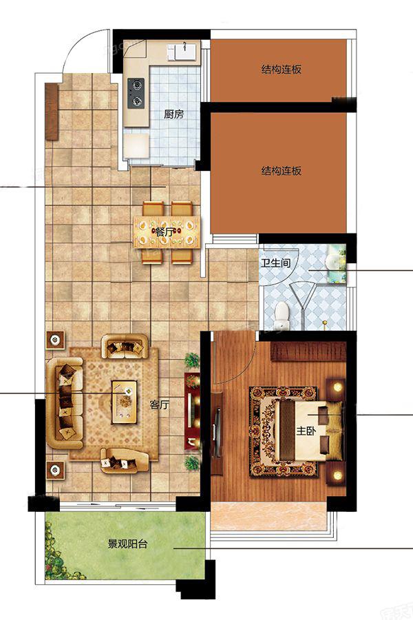 二期C户型 1室2厅1卫1厨 建面65㎡