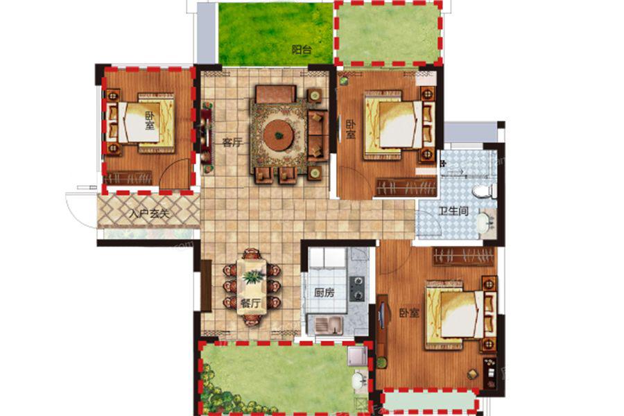 E户型 2室2厅1卫1厨 建筑面积:88.00㎡
