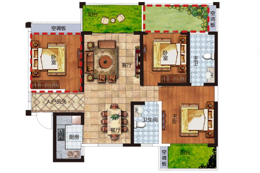 F户型 2室2厅2卫1厨 建筑面积:91.00㎡