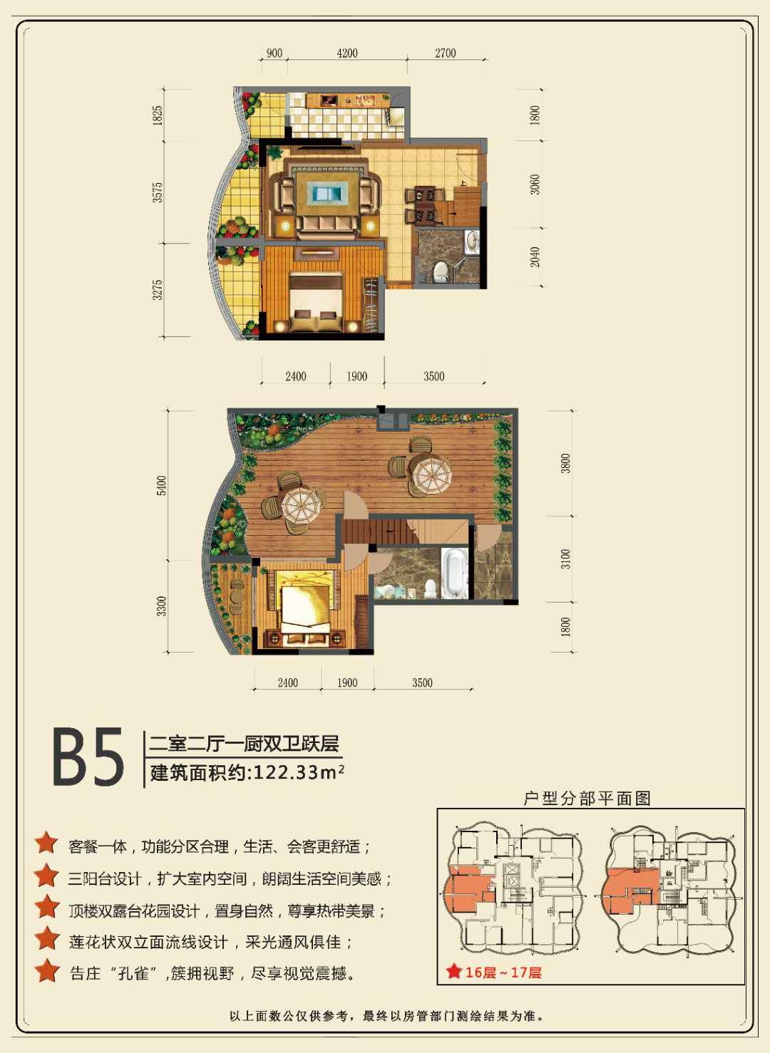 B5户型 2室2厅1厨2卫 建面:122.33㎡