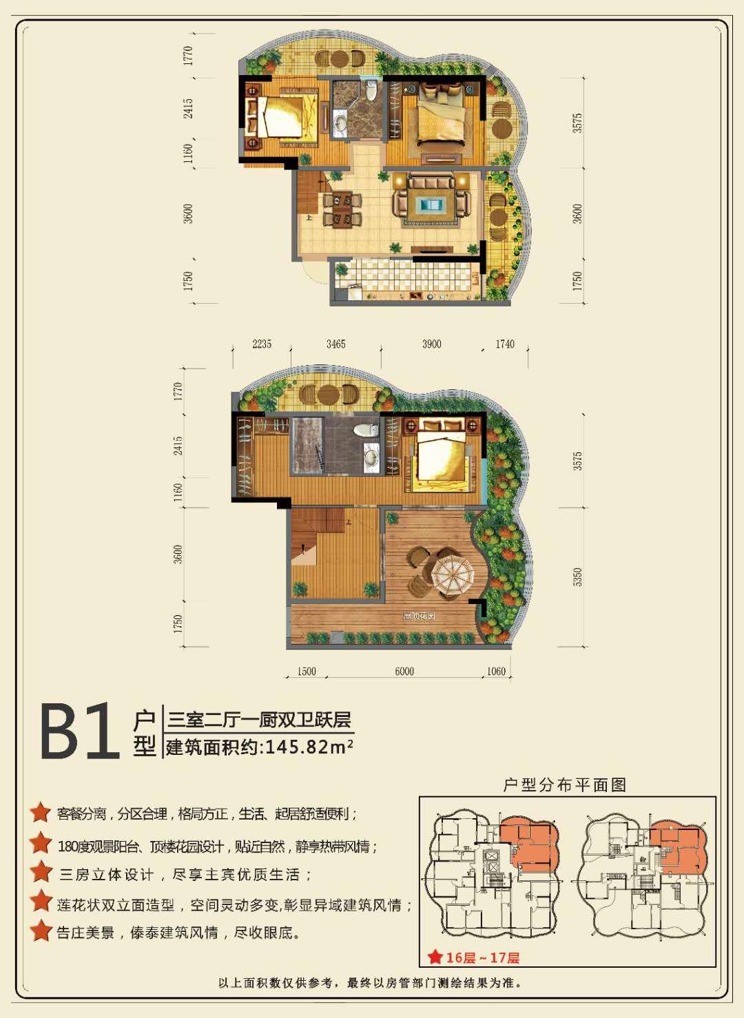 B1户型 3室2厅1厨2卫 建面:145.82㎡
