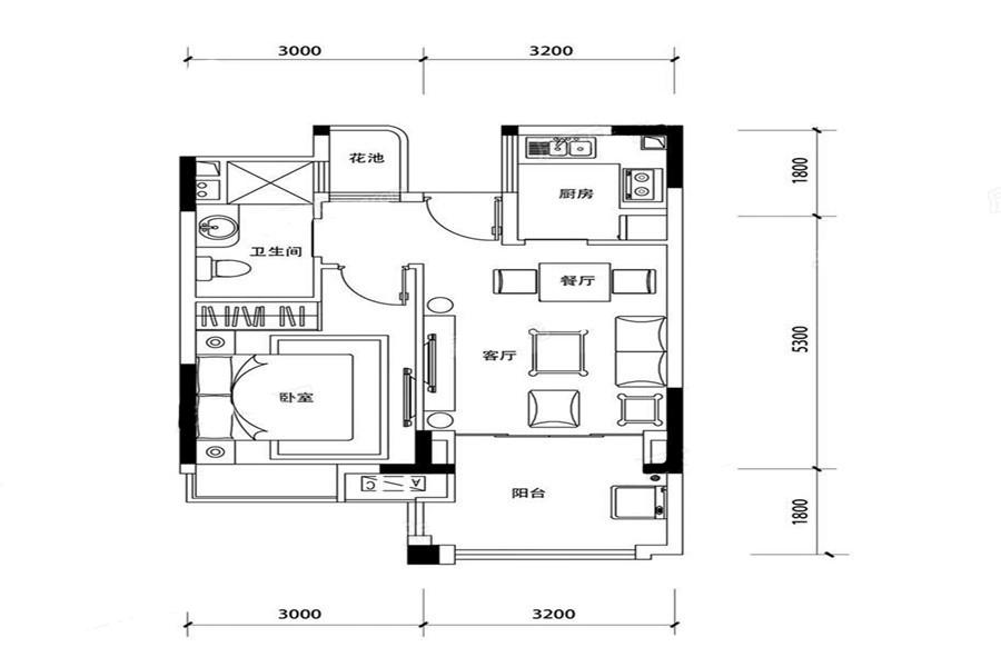 三期C2户型 1室2厅1卫1厨 建面51.59㎡