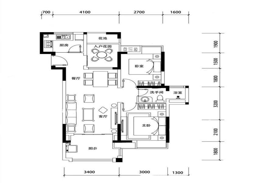 三期C1户型 2室2厅1卫1厨 建面78.14㎡