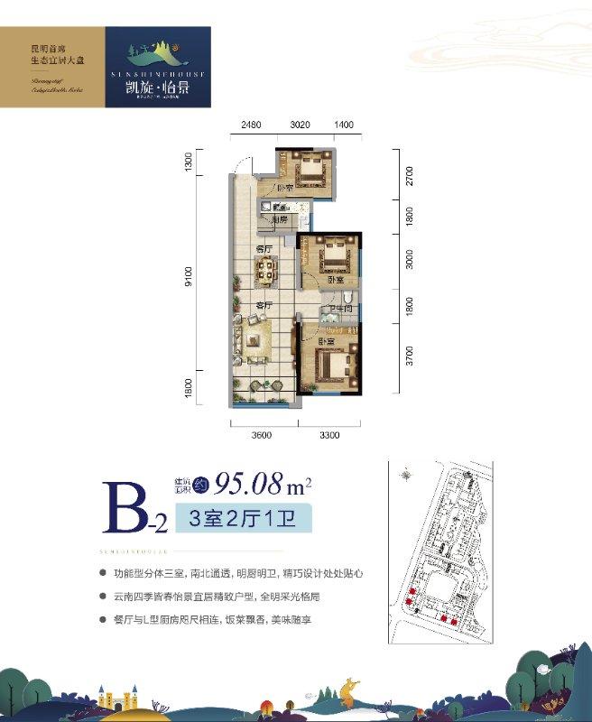 B-2户型 3室2厅1卫 建面95.08㎡