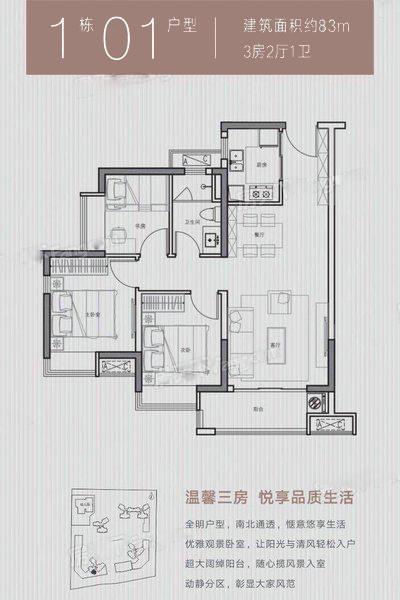 1幢01户型 3室2厅1卫1厨 建筑面积:83.00㎡