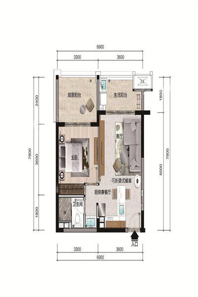 A1户型 1室1厅1卫 建面60.02㎡