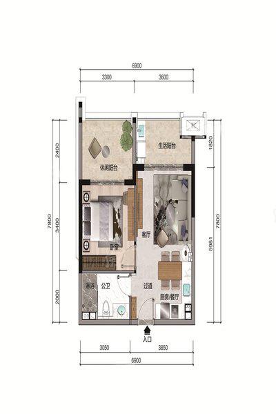 A2户型 1室1厅1卫 建面60.03㎡