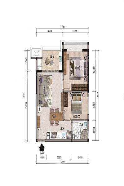 B1户型 2室1厅1卫 建面67.16㎡