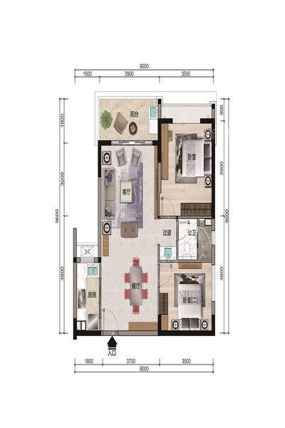 B4户型 2室2厅1卫 建面87.85㎡