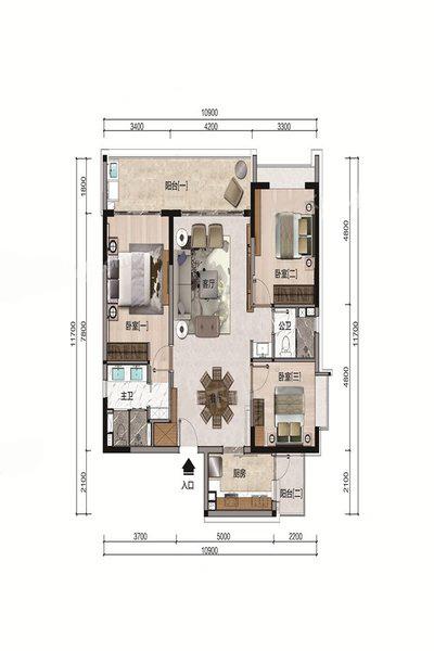 C户型 3室2厅2卫 建面131.76㎡
