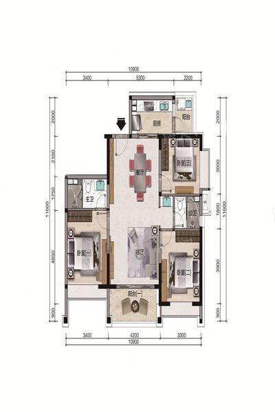 C2户型 3室2厅2卫 建面118.12㎡