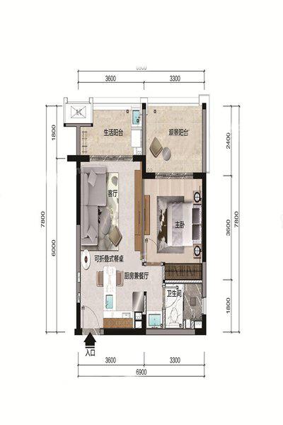 A户型 1室1厅1卫 建面60.02㎡
