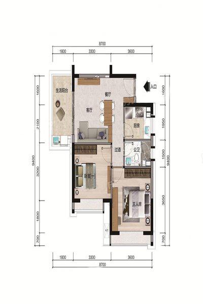 B3户型 2室1厅1卫 建面71.26㎡