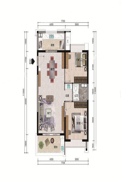 B5户型 2室2厅1卫 建面98.04㎡