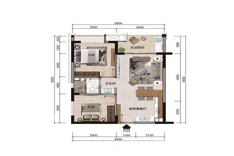 B户型 2室2厅1卫 建面73.35㎡