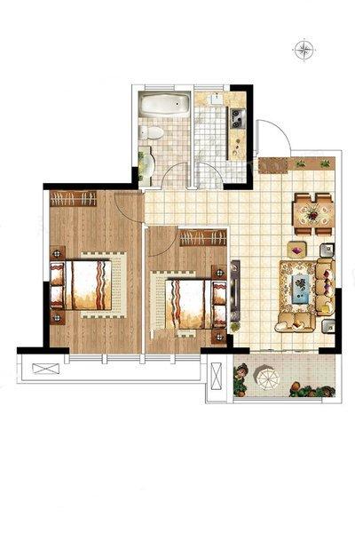 C1户型 两房两厅一卫 建面约78.46㎡