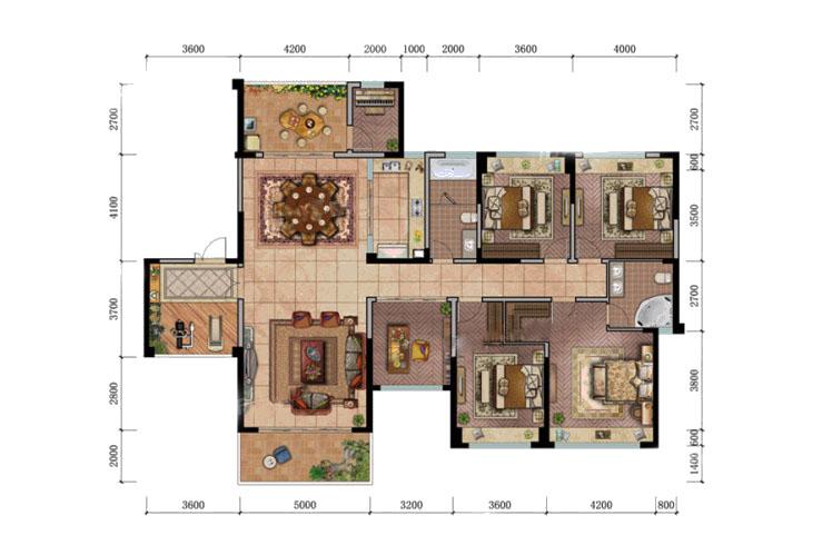 17#1单元02户型 5室2厅2卫1厨 建面219.67㎡