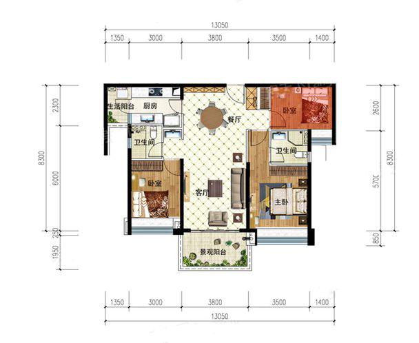 T3户型 3室2厅2卫1厨 建筑面积:108.00㎡
