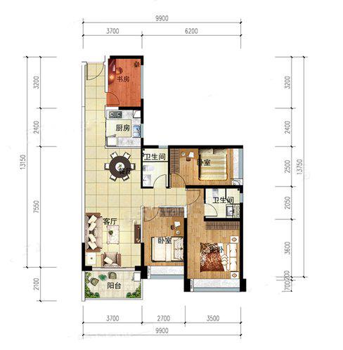 T8户型 4室2厅2卫1厨 建筑面积:112.00㎡
