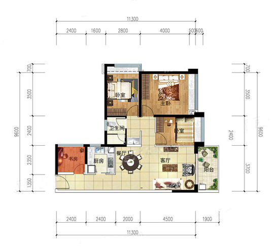 T8户型 4室2厅1卫1厨 建筑面积:94.00㎡