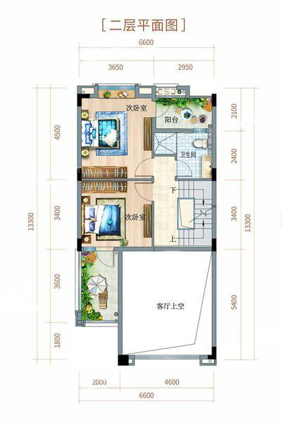 双拼别墅户型 3室2厅3卫 建面180㎡ 二层