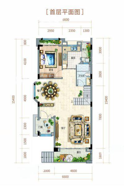 双拼别墅户型 3室2厅3卫 建面180㎡ 首层