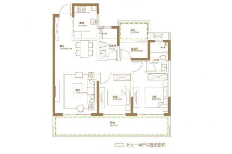 四期A户型 3室2厅2卫 建面108㎡