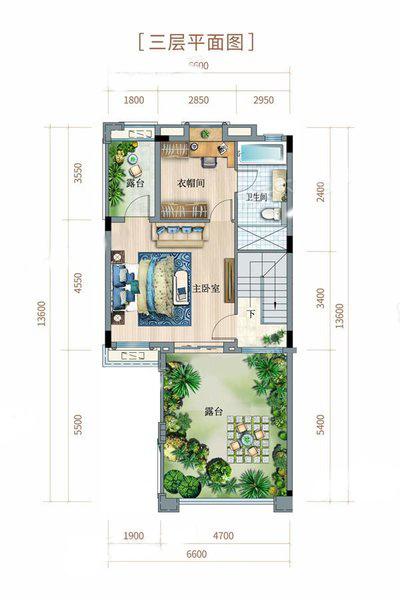 双拼别墅户型 3室2厅3卫 建面180㎡ 三层