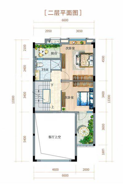 联排别墅户型 4室2厅3卫 建面177㎡ 二层