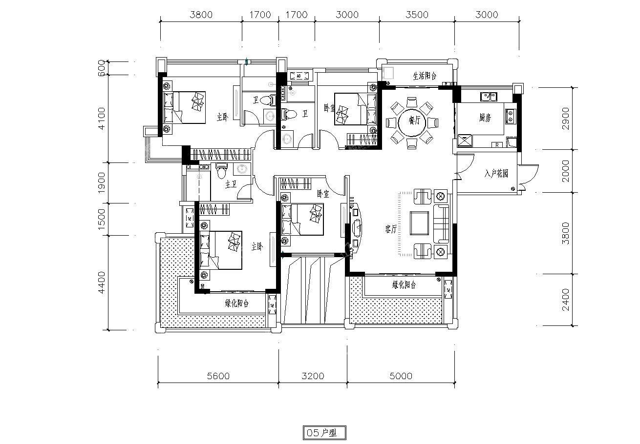 2号楼05户型 4房2厅3卫 建面170㎡