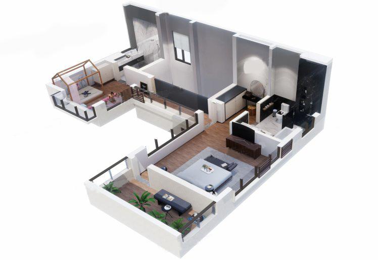 北入别墅户型 3室2厅4卫 建面110㎡ 二层