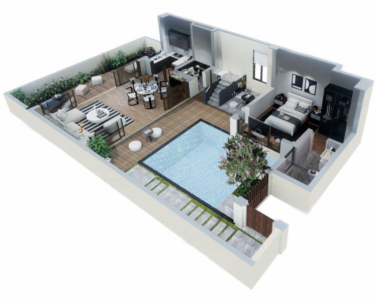 南入别墅户型 3室2厅4卫 建面112㎡ 一层