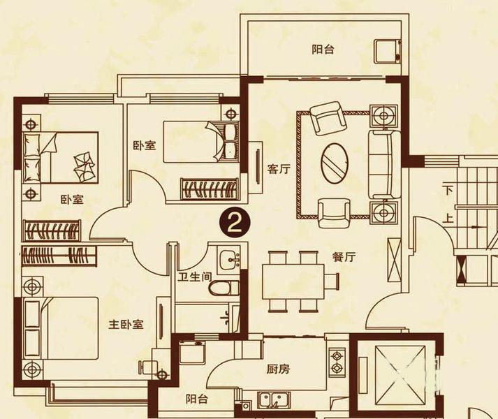 26#楼2户型 3室2厅1卫 建面109㎡