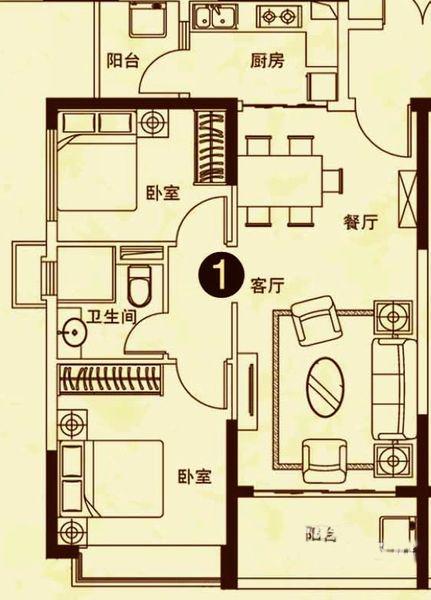 25#楼1户型 2室2厅1卫 建面82㎡