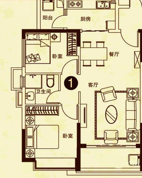 24#楼1户型 2室2厅1卫 建面81㎡
