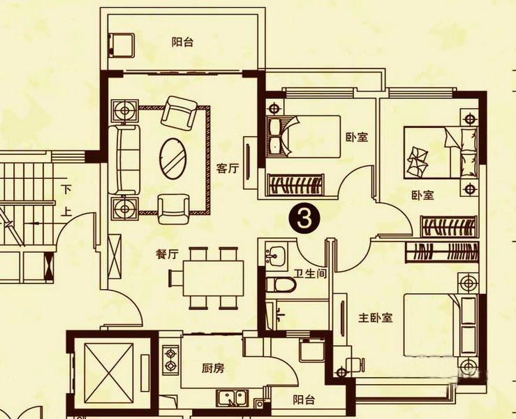 24#楼3户型 3室2厅1卫 建面109㎡