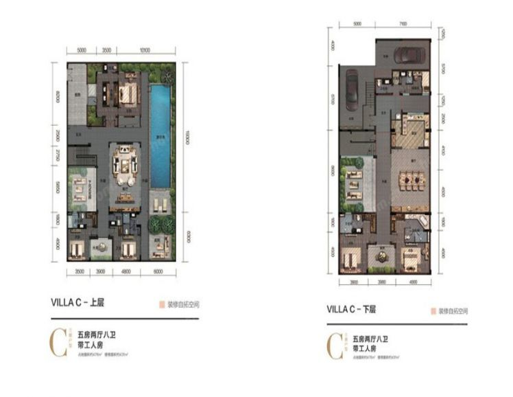 別墅戶型 5房2廳8衛 建面121㎡