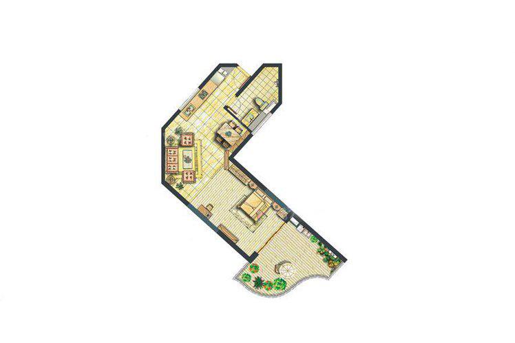 邮轮公寓D户型 1室2厅1卫 69㎡
