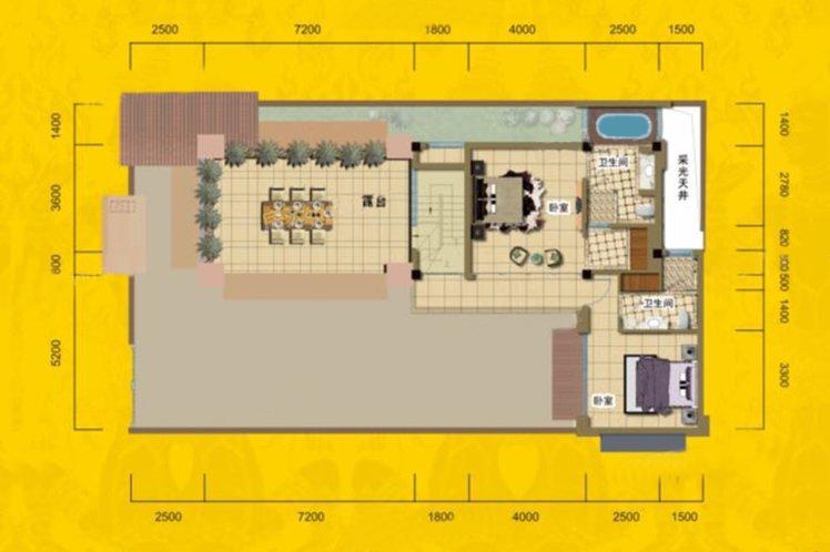 别墅B3户型 4房3厅5卫 建面221.51㎡ 三层平面图