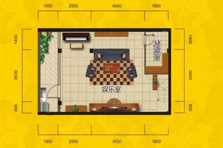 别墅B3户型 4房3厅5卫 建面221.51㎡ 首层平面图