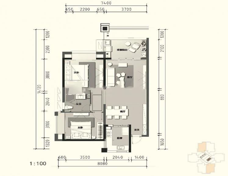 A1户型 2室2厅1卫1厨 建面102㎡