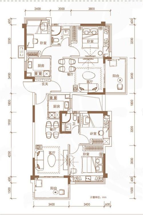 Y100&130-EF戶型 4室4廳 建面127㎡